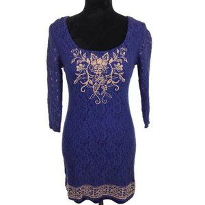 Flying Tomato Blue Embroidered 3/4 Sleeve Dress